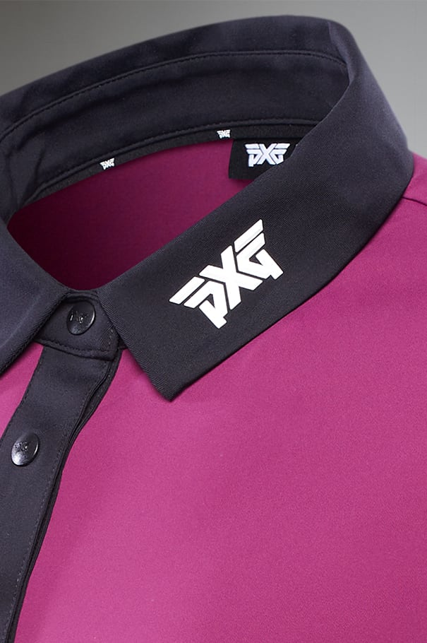 Royal Plum Black Collar Polo Rollover Image